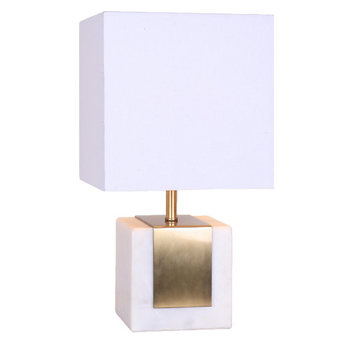 Delta Table Lamp - Antique Brass And White Marble