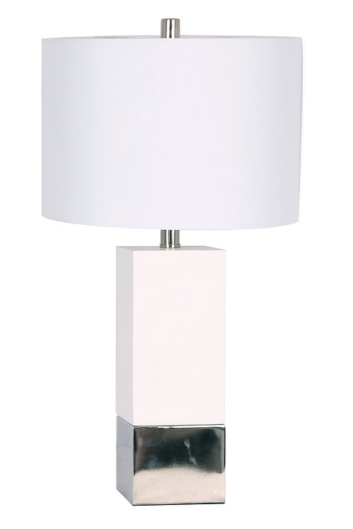 Mercedes Table Lamp - White & Chrome