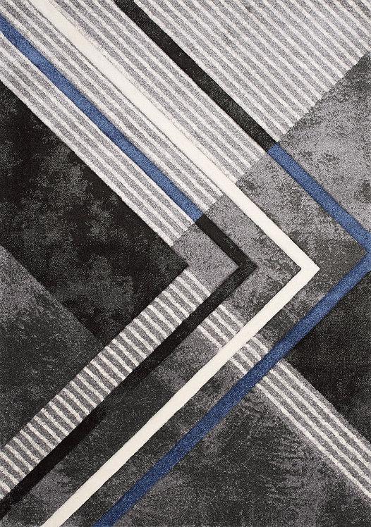Tillie Black Blue Modern 5x8 Rug