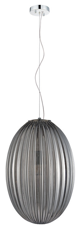 Orion Large Etched Glass Pendant - Smoke Glass
