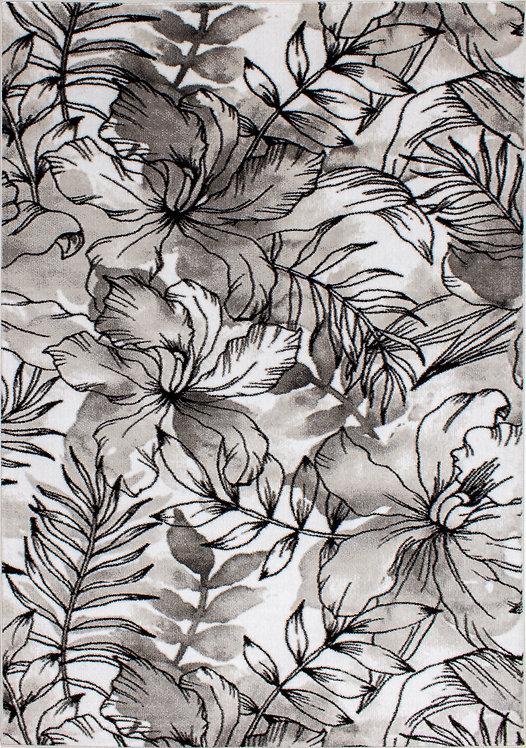 Petal Grey White Floral 8x11 Rug