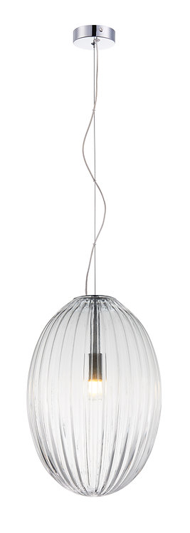 Orion Large Etched Glass Pendant - Clear Glass