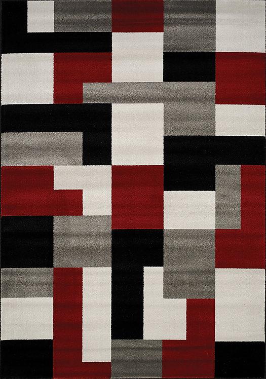 Pilar Red/Black/Grey Blocks 8x11 Rug