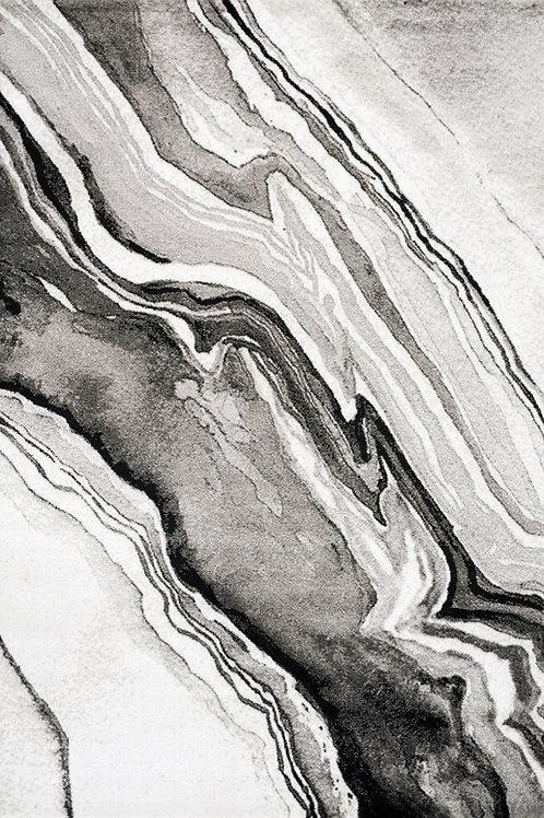 Pietro Grey White Marble 5x8 Rug