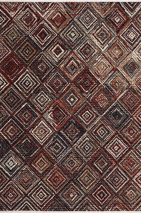 Tuner Red Tribal Tile 8x11 Rug