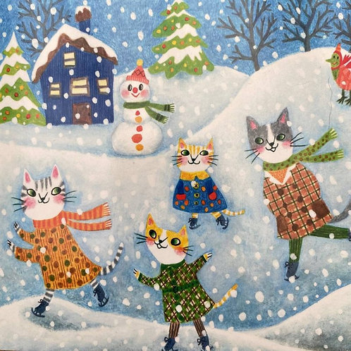 Pack of 10 Christmas Cards Cats Playing