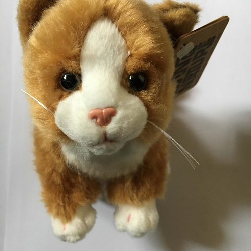 Living Nature Ginger and White Soft Toy Cat