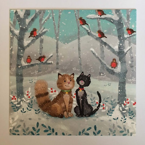 Pack of 10 Woodland Cats Christmas Cards