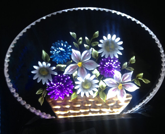Really 3D hand carved Basket of flowers