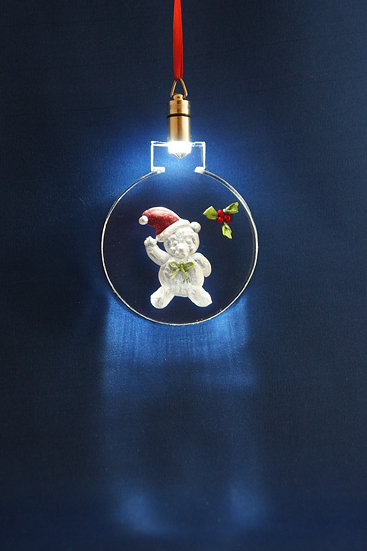 LIGHTED ORNAMENT -Teddy Bear with Holly hand carved