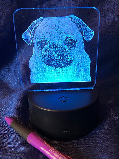 Battery operated color changing Pug night light