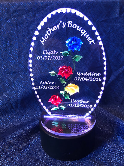 Engraved Mothers Day Bouquet of flowers- 5 Rose