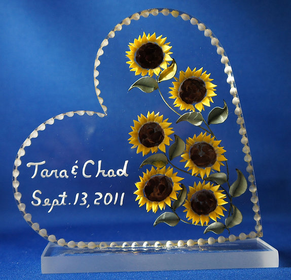 Very Deeply hand carved 3D Sunflowers wedding gift cake topper
