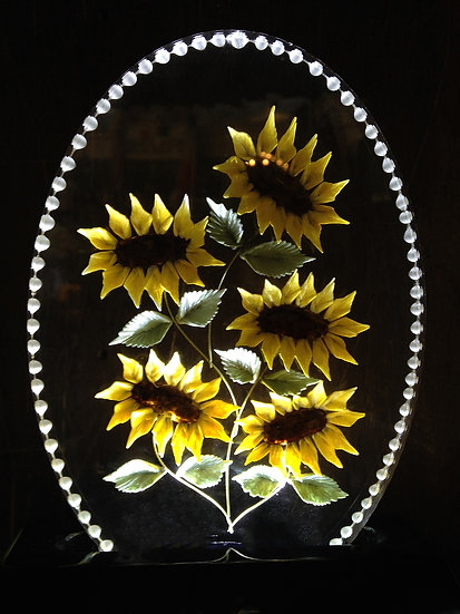 Really 3D hand carved bouquet of Sunflowers