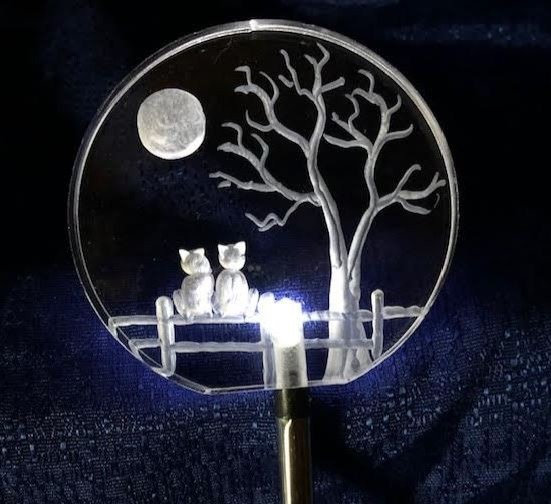 Custom cat photo design on Lighted solar stake
