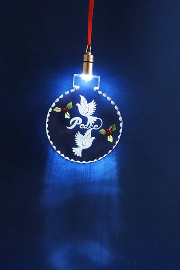 LIGHTED ORNAMENT -Peace doves  with holly hand carved