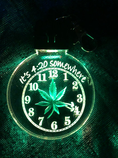 Marijuana Leaf  with clock 4:20 etched lighted keychain