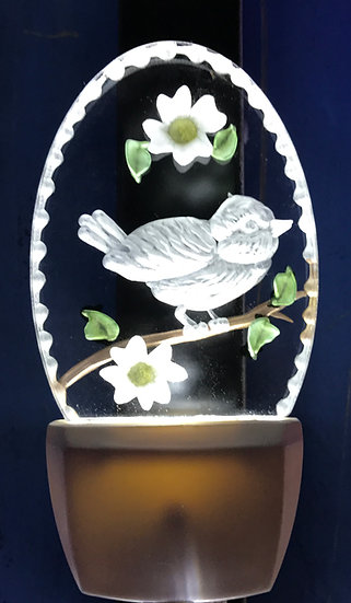 Chickadee in dogwood flower night light