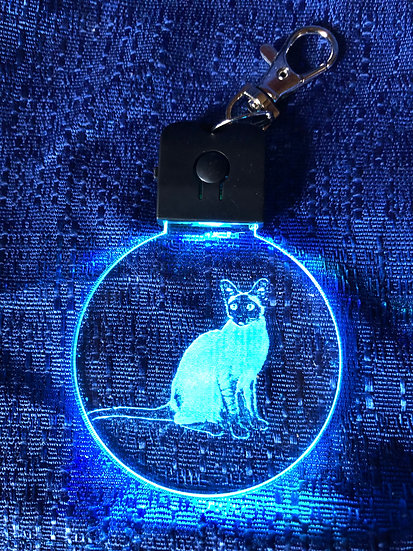 Siamese Cat body  lighted keychain