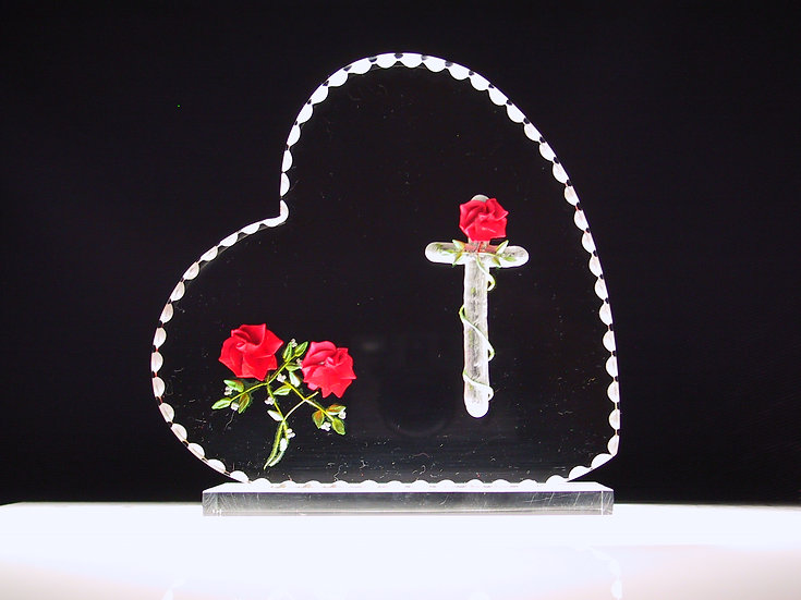 hand carved 3D Cross and roses wedding gift cake topper