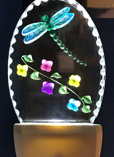 dragonfly with vine of flowers night light