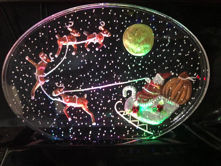 Santa and reindeer scene