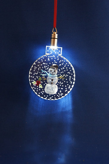 LIGHTED ORNAMENT -Snowman hand carved