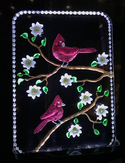 Cardinals and dogwood flowers