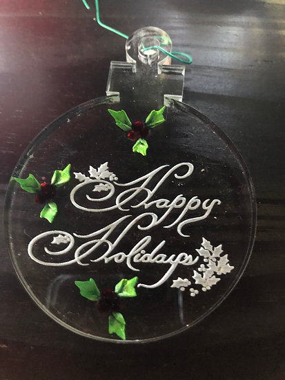 Happy Holiday Holly etched ornament