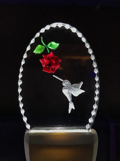 Hummingbird with a rose night light