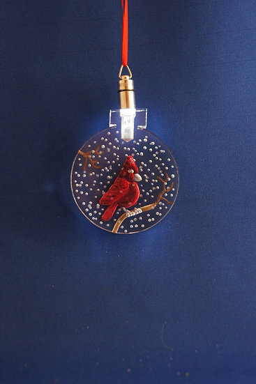 LIGHTED ORNAMENT -Cardinal hand carved