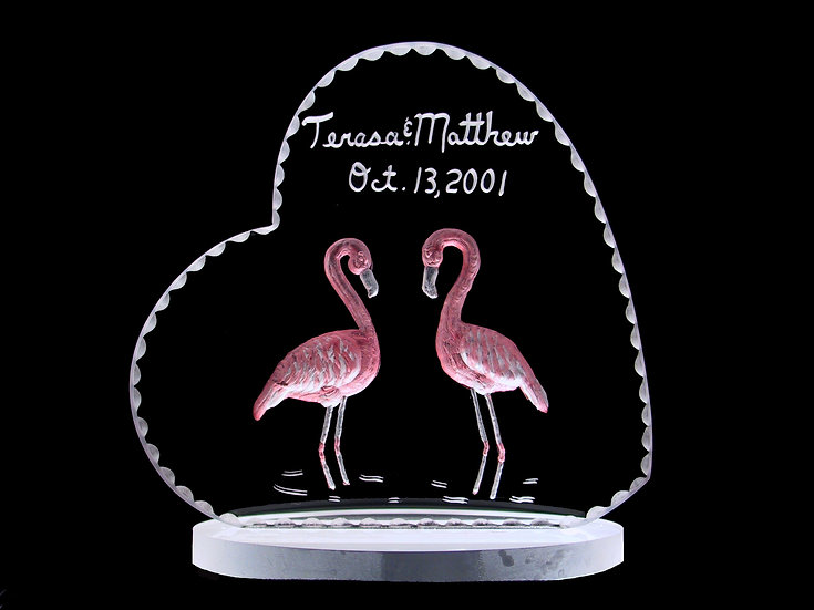 hand carved 3D Flamingos wedding gift cake topper
