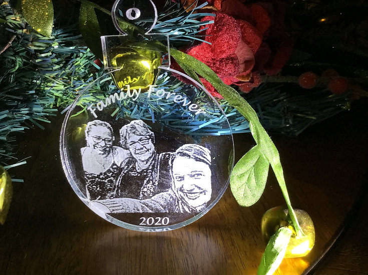 Your Family Christmas photo etched ornament