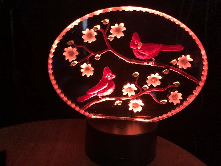 Cardinals amoung dogwoods on battery light