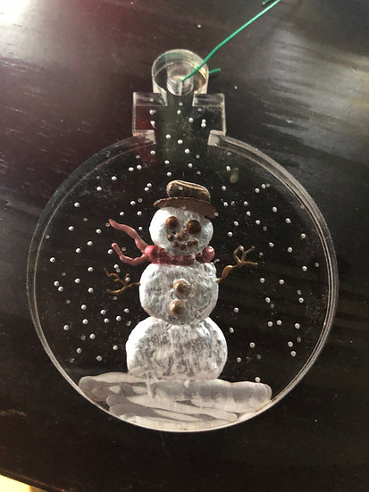 Snowman with holly ornament