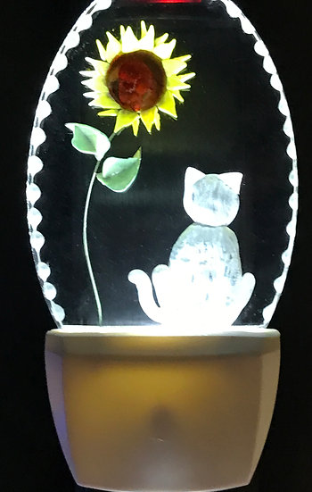 Cat with sunflower night light