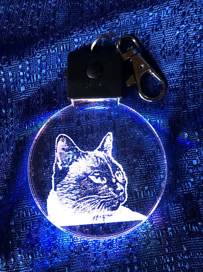 Custom Photo Cat  lighted keychain