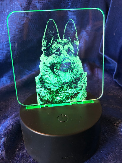 Battery operated color changing German Shepherd light