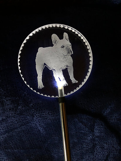 French Bulldog full body etched Lighted solar stake