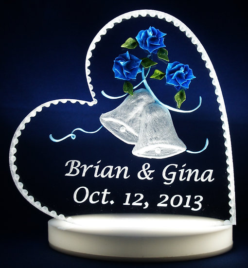 Personalized Wedding Bells gift with light base