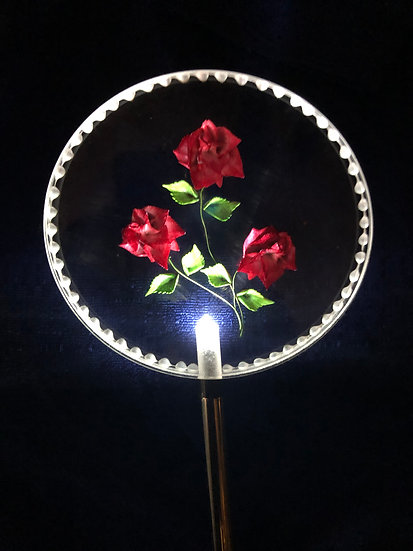 Roses etched in 3 D Lighted solar stake order any color you like