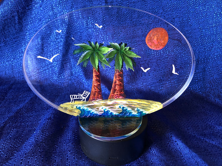 Hand Carved Palm tree Beach scene with light