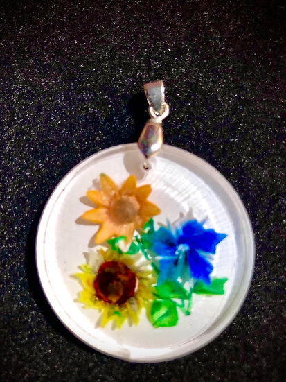 Mixed bouquet of flowers hand carved, vintage style pendant