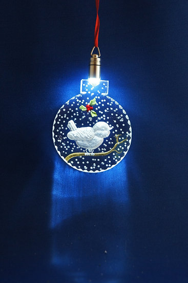 LIGHTED ORNAMENT -Chickadee with Holly hand carved