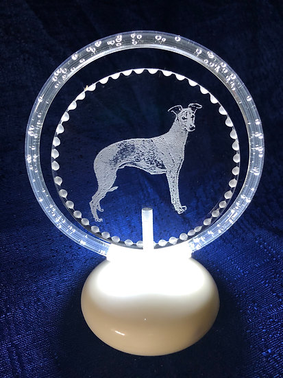 Your dog breed etched halo illuminated