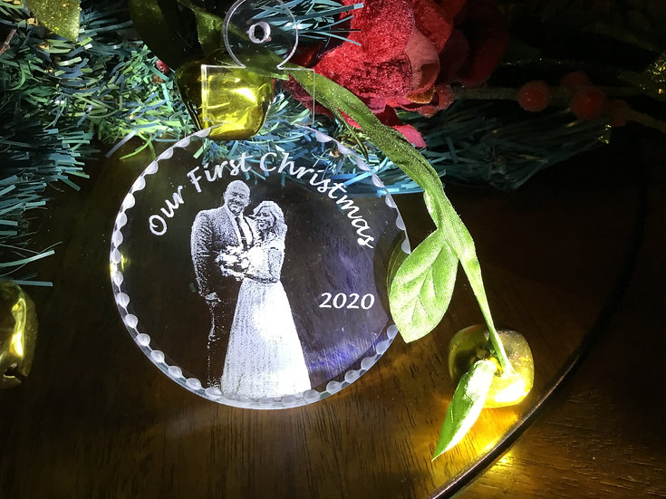 Our First Christmas photo etched ornament