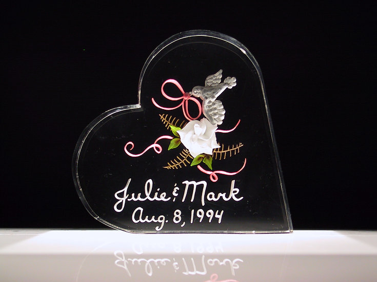 hand carved 3D Dove and Rose wedding gift cake topper
