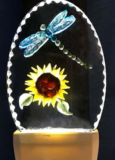 dragonfly with sunflowers night light