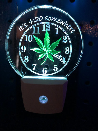 4:20 clock and marijuana leaf night light
