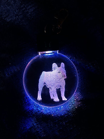 French Bulldog, head, sitting or full body etched lighted keychain